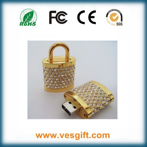 Silver/Golden Lock Design Promotional Gift USB Memory Disk