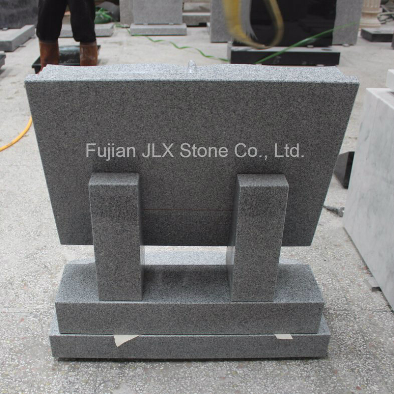 G633 Grey Granite Book Shape Headstone with Rose Carving