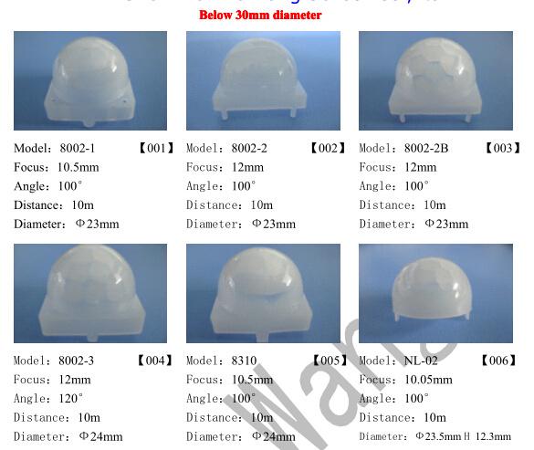 PMMA Plastic Infrared Fresnel Lens for Passive Infrared Sensor 8120-4