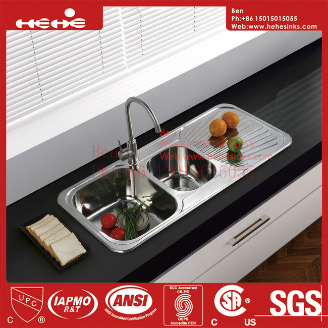 Kitchen Sink with Drain Board, Stainless Steel Sink, Sinks
