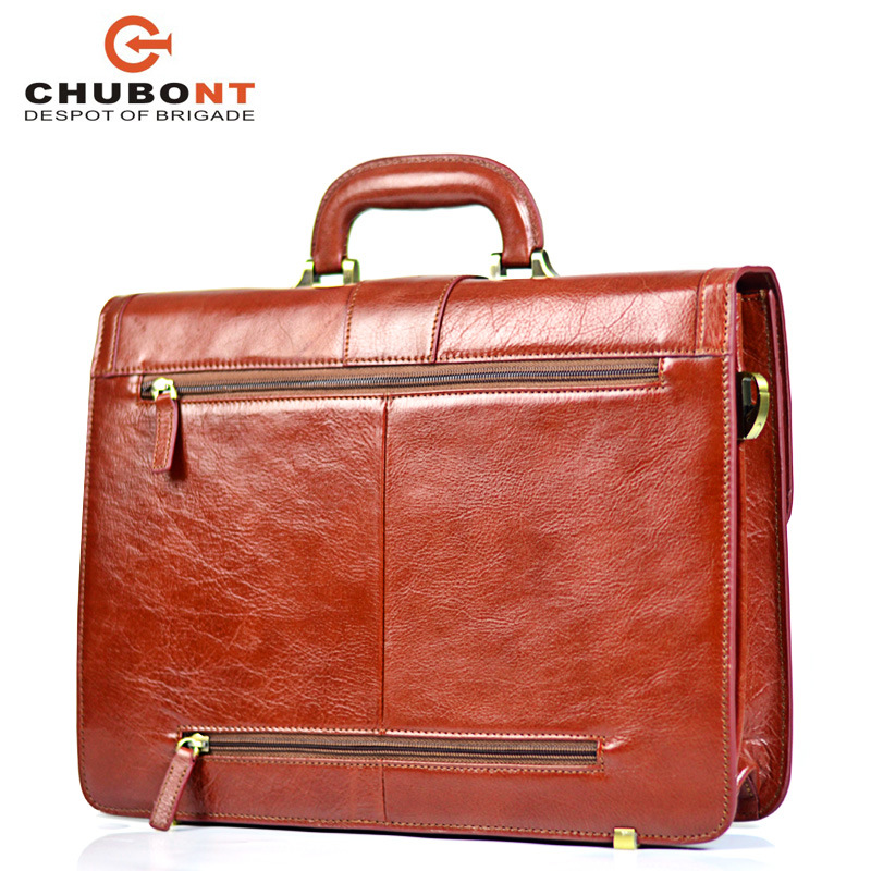 "Chubont High Qualilty Cow Leather Mens 15"" Business Briefcase"