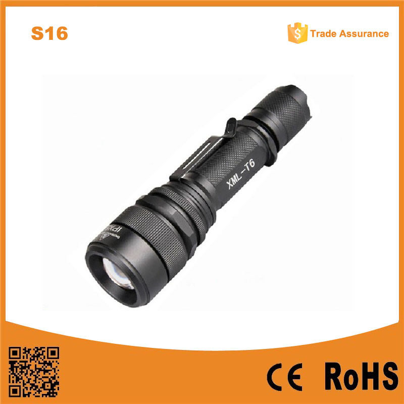 Telescopic Zoom CREE T6 Tactical LED Flashlight (Poppas- S16)