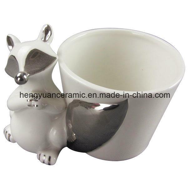 Desktop Fox Decoration Ceramic Flower Pot (garden decoration)
