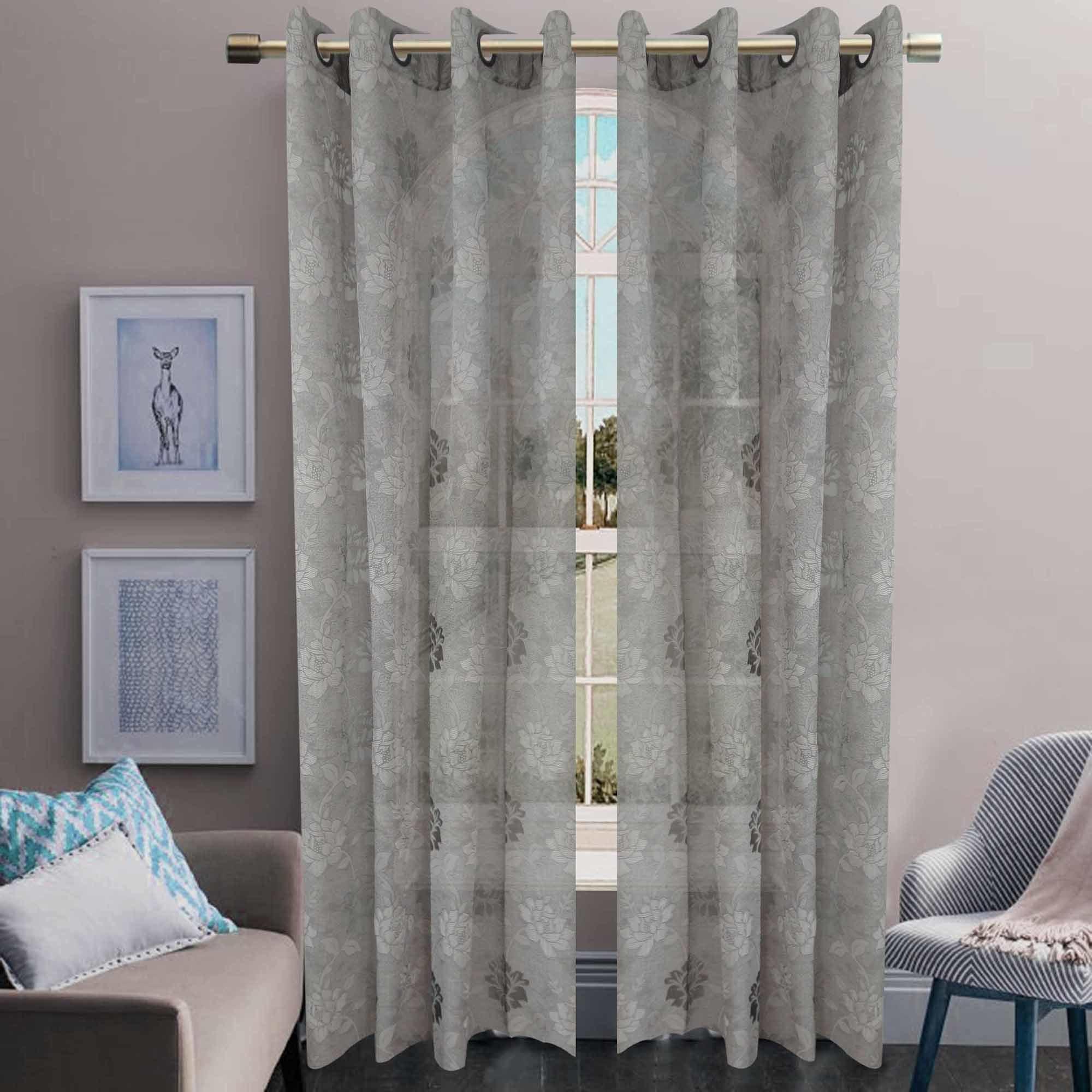 Jacquard Sheer Grommet Panel Window Curtain (HR14WT082)