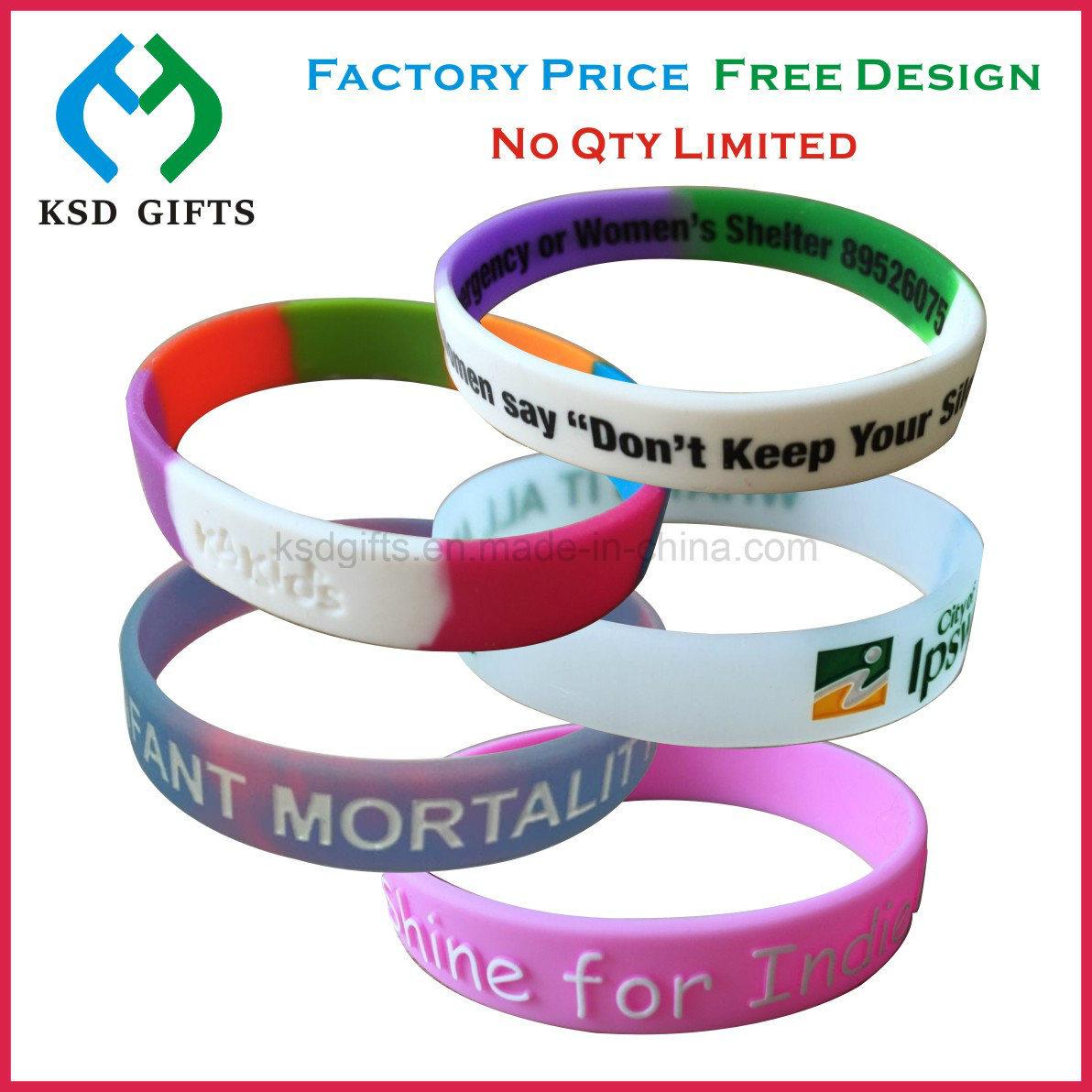 Custom 100% Silicone Bracelet/Rubber Band/Silicon Wristband