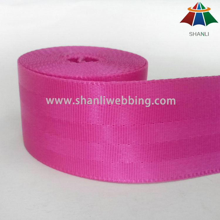 4.5cm Rose Red Nylon Seat Belt Webbing