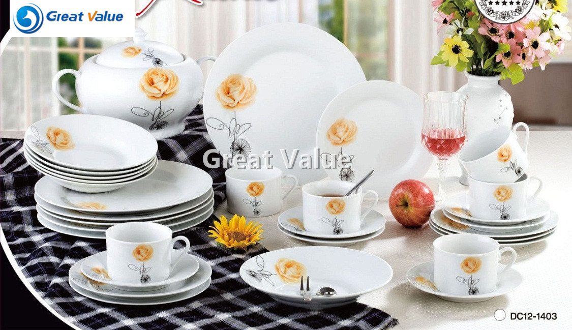 42PCS Western Style Set of Dishes Porcelain Dinnerware