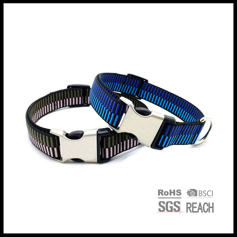 High Quality Woven Pet Dog Collars with Hardware Buckle