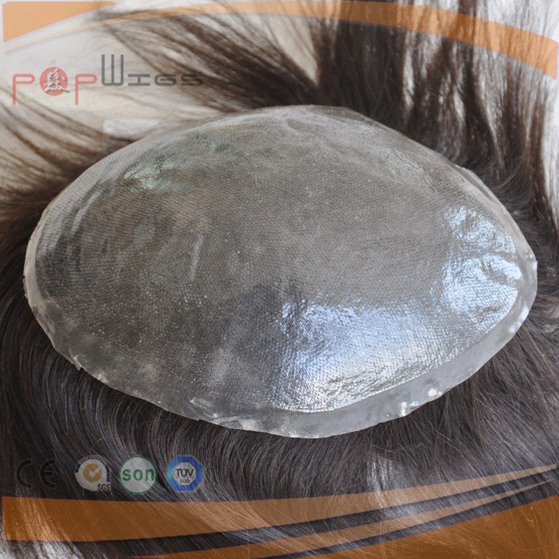Human Hair Full Coated Lace Straight Women Super Thin Skin Soft Poly Hair Piece
