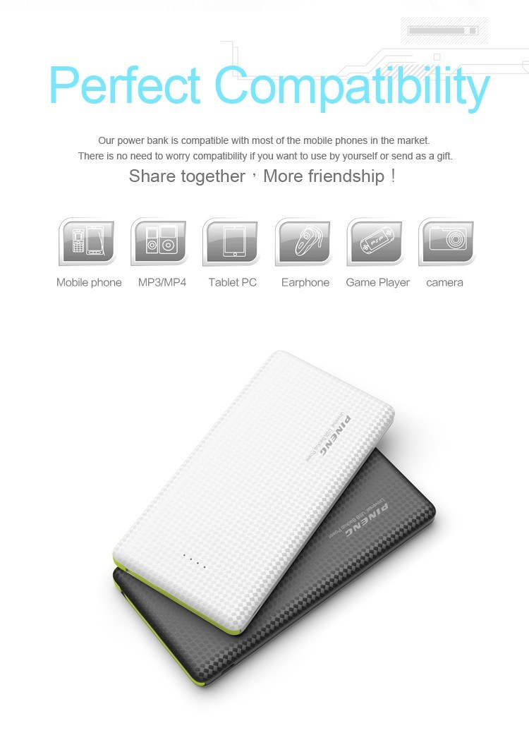 Pineng New Slim Power Bank Charger 10000mAh (PN-951)
