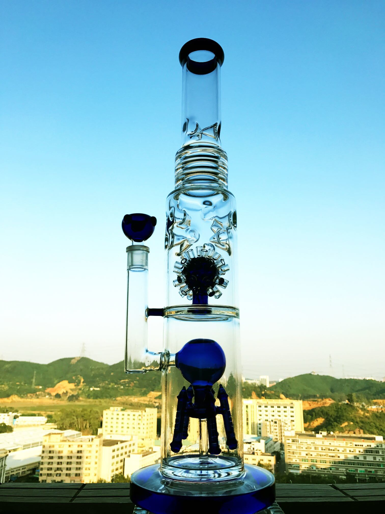 Hitman Sundae Stack DAB Rigs Smoking Glass Water Pipe High Quality Recycler Tobacco Tall Color Bowl Glass Craft Ashtray Glass Pipes Heady Beaker Bubbler Handcra