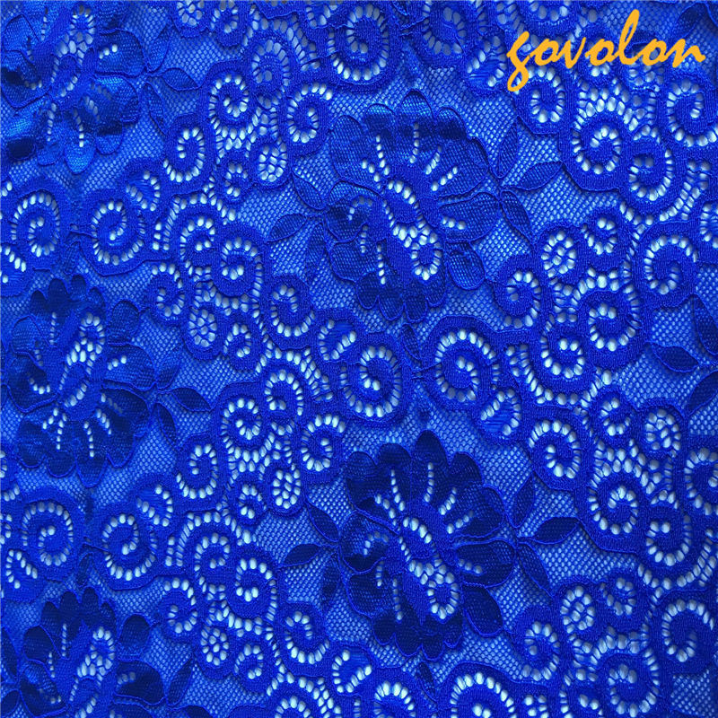 Cotton Embroidery Lace Fabric with Mesh