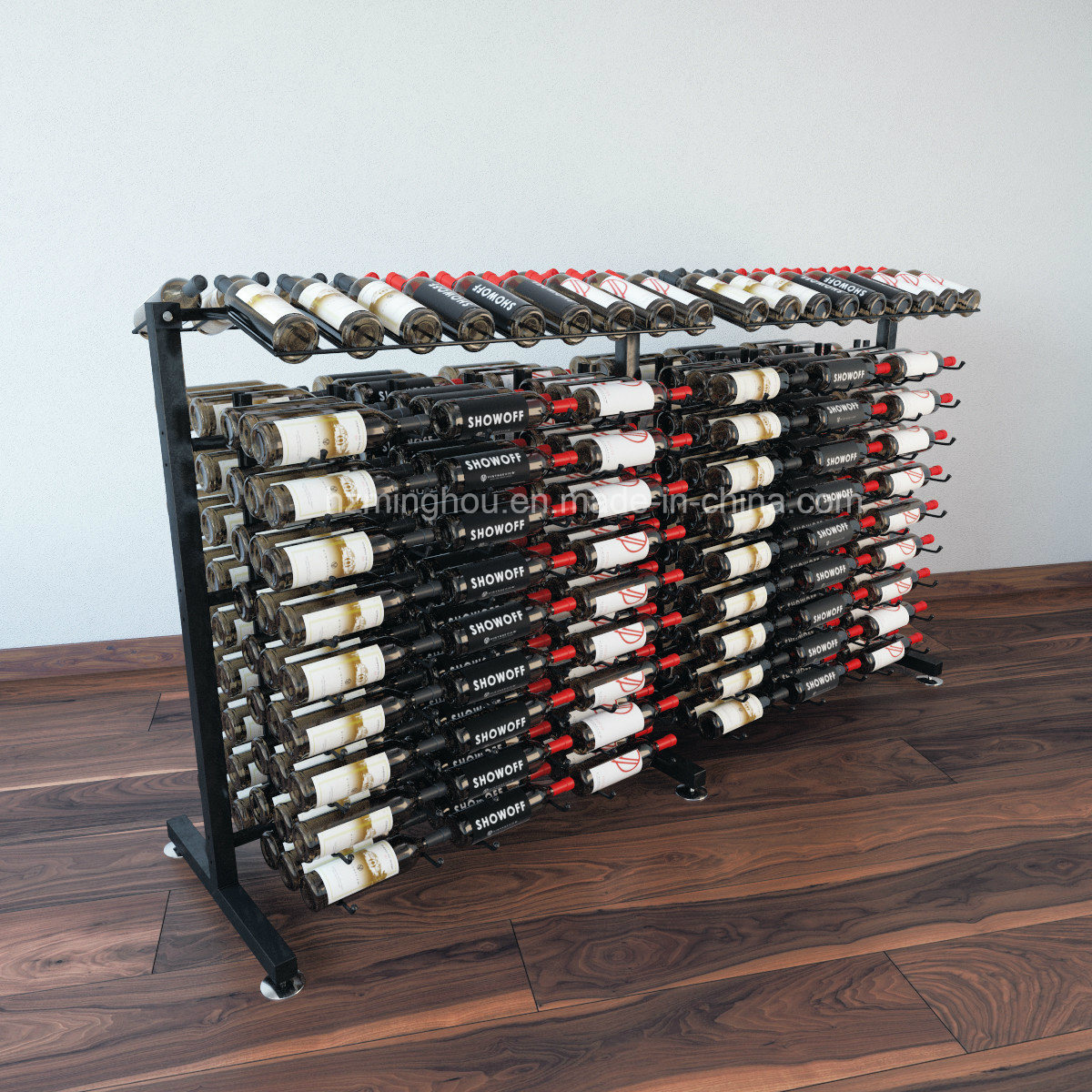 Practical 360-Bottles Metal Floor Storage Wine Bottle Display Rack