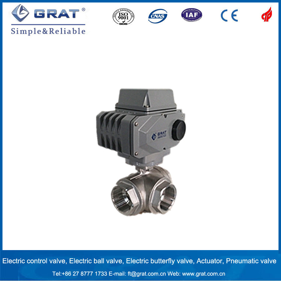 3 Way Multi Control Ss Ball Valve with Electricity Motorized Actuator