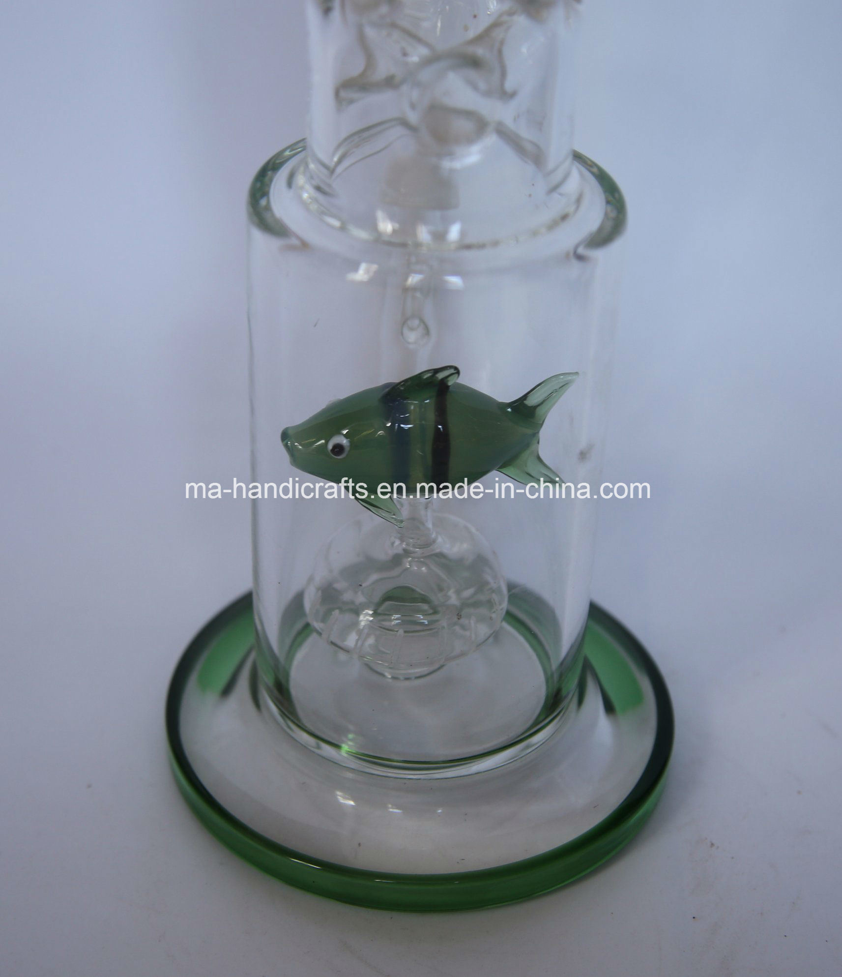 "17"" Green Glass Smoking Water Pipes Shisha with Fish Perc"