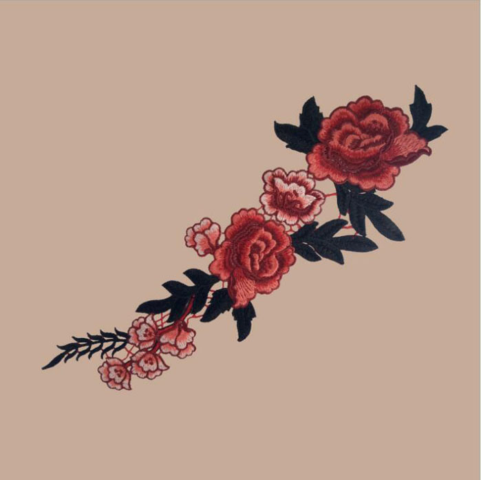 Custom Rose Applique Embroidery Flower Patches