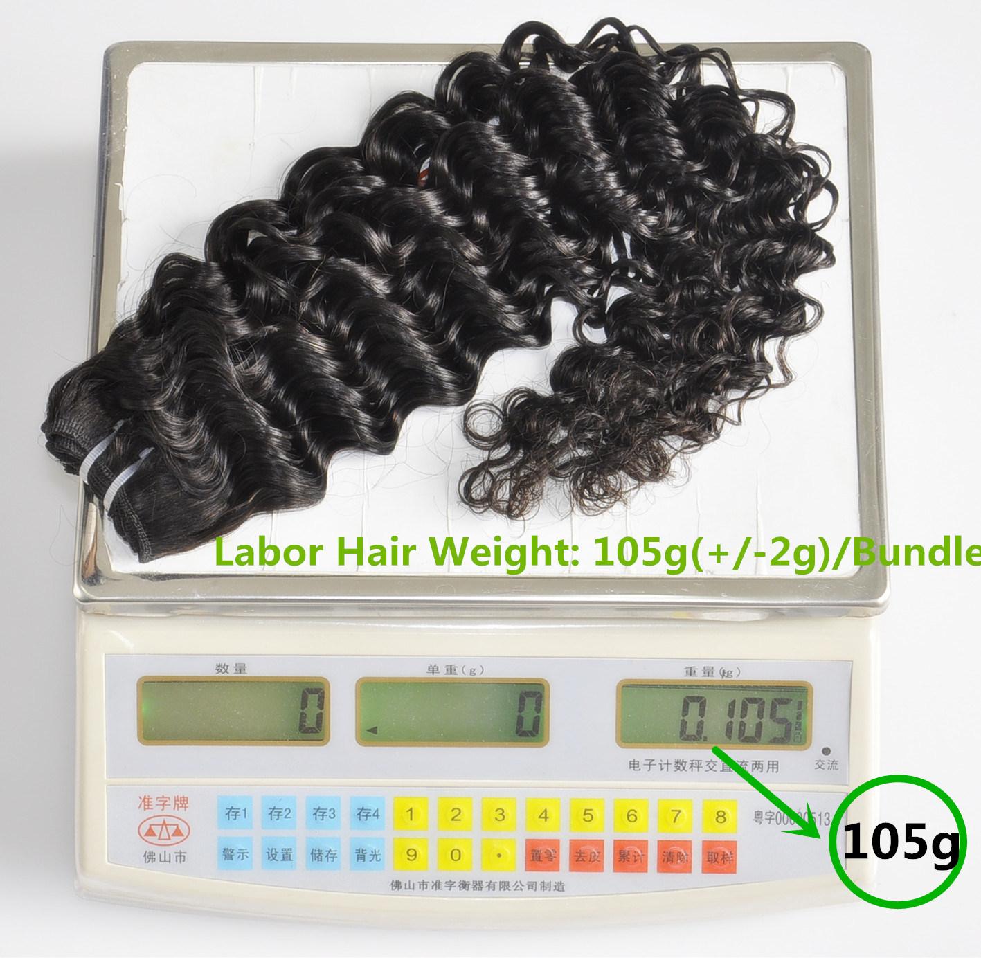 Unprocessed Labor Hair Extension 105g (+/-2g) /Bundle Natural Brazilian Virgin Hair Deep Curly 100% Human Hair Weaves Grade 8A