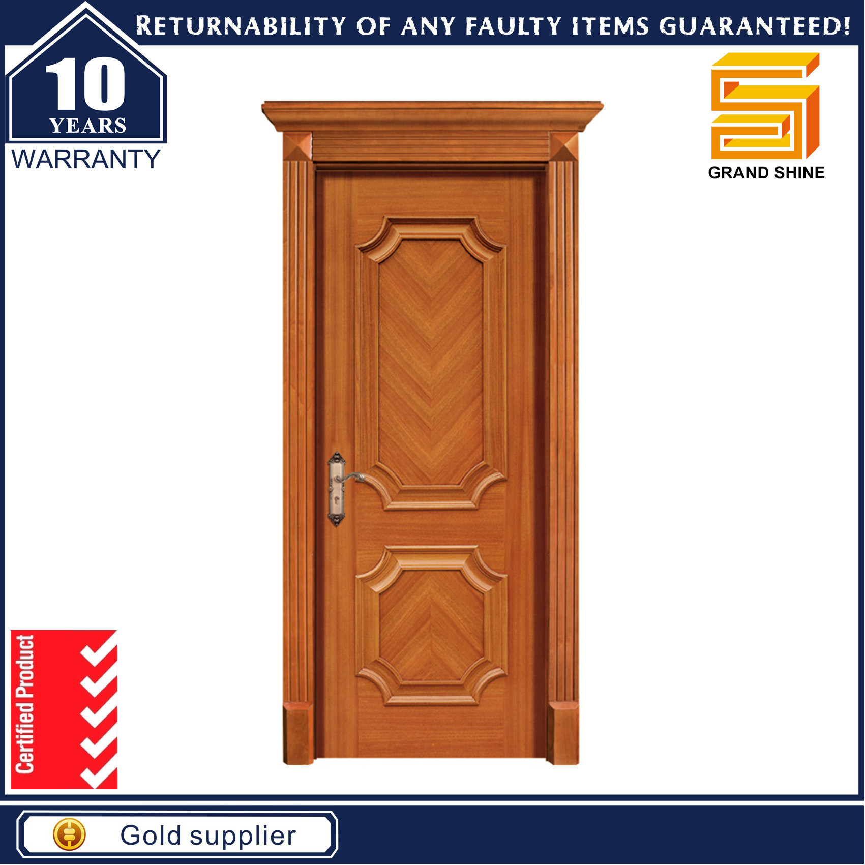Solid Teak Wood Veneer Composite Wooden MDF Panel Main Door Designs