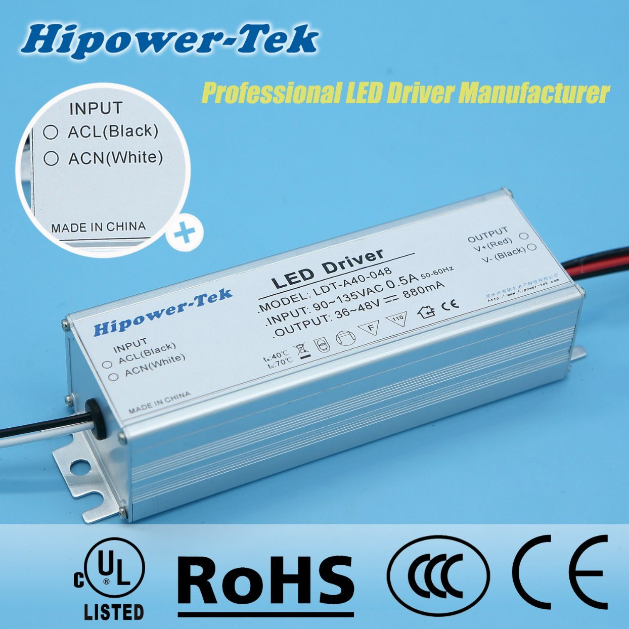 90-135VAC 40W Constant Current Traic Dimming Power Supply LED Driver