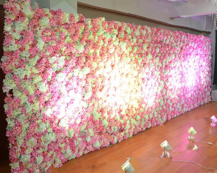 China Artificial Silk Flower Wall Backdrop For Wedding Decoration