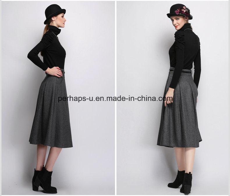 New Women Dress Wool Long High Waist Retro Skirt