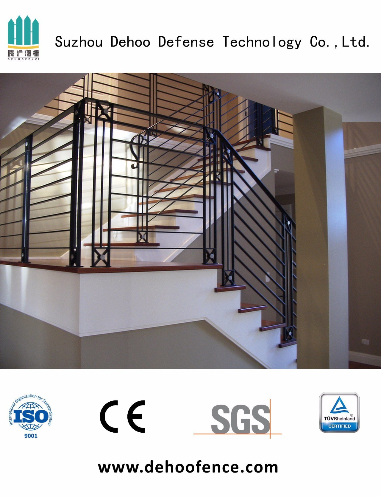 Interior Wrought Black Iron Stair Fence with High Quality