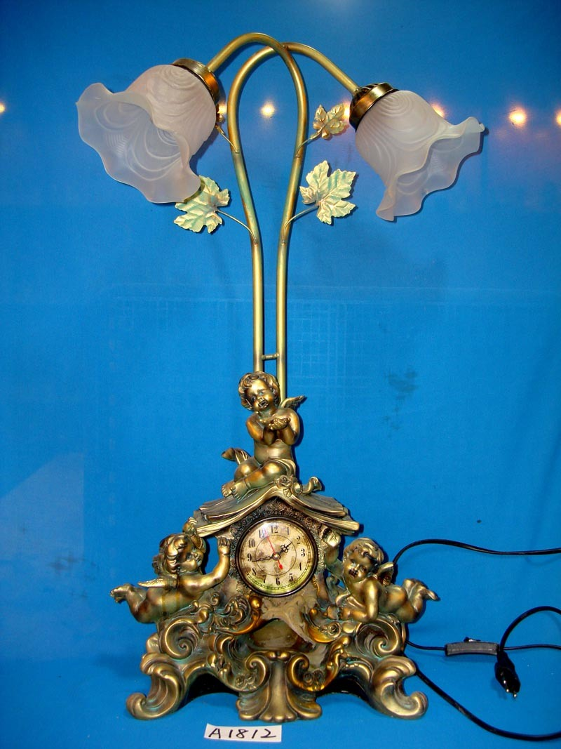 Gold Angel with Clock and Lamp for Home/Hotel Decoration
