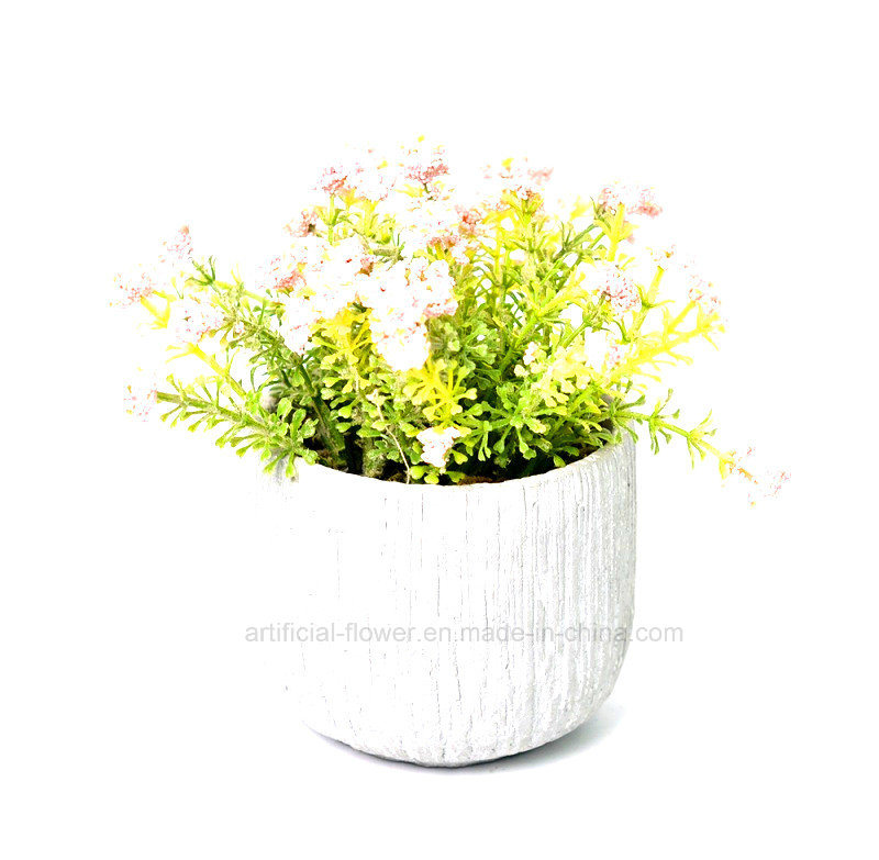 Flora Artificial Spring Flowers Bouquet in Cement Pot for Home & Office Decoration