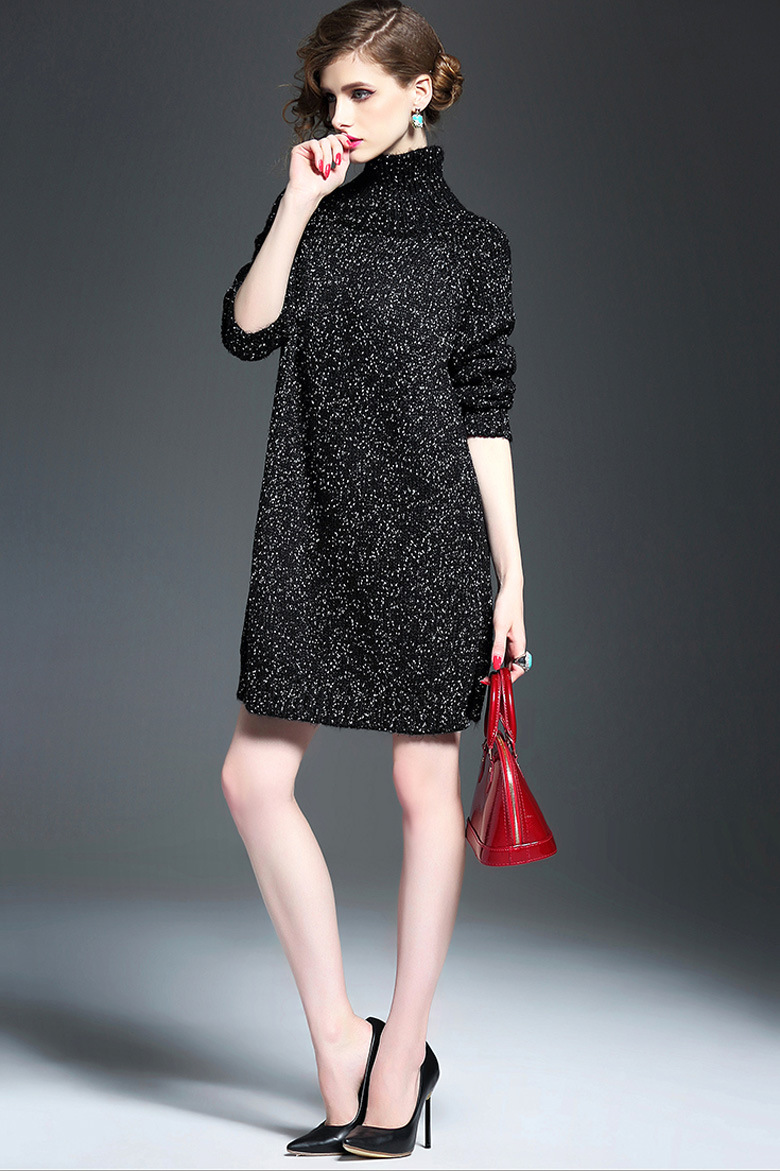Customize Women′s Black Turtleneck Side Split with Thick Sweater Knitting Dress