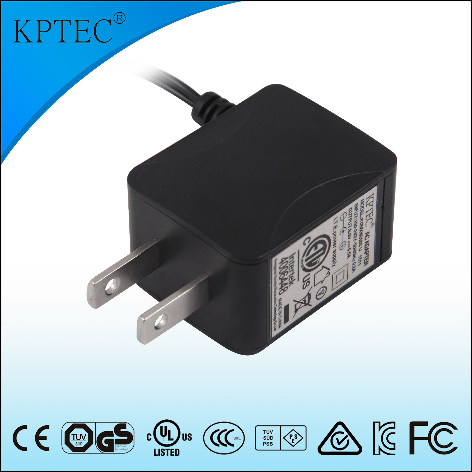 Level 6 Efficiency 5V 1A AC Adapter with UL Certificate