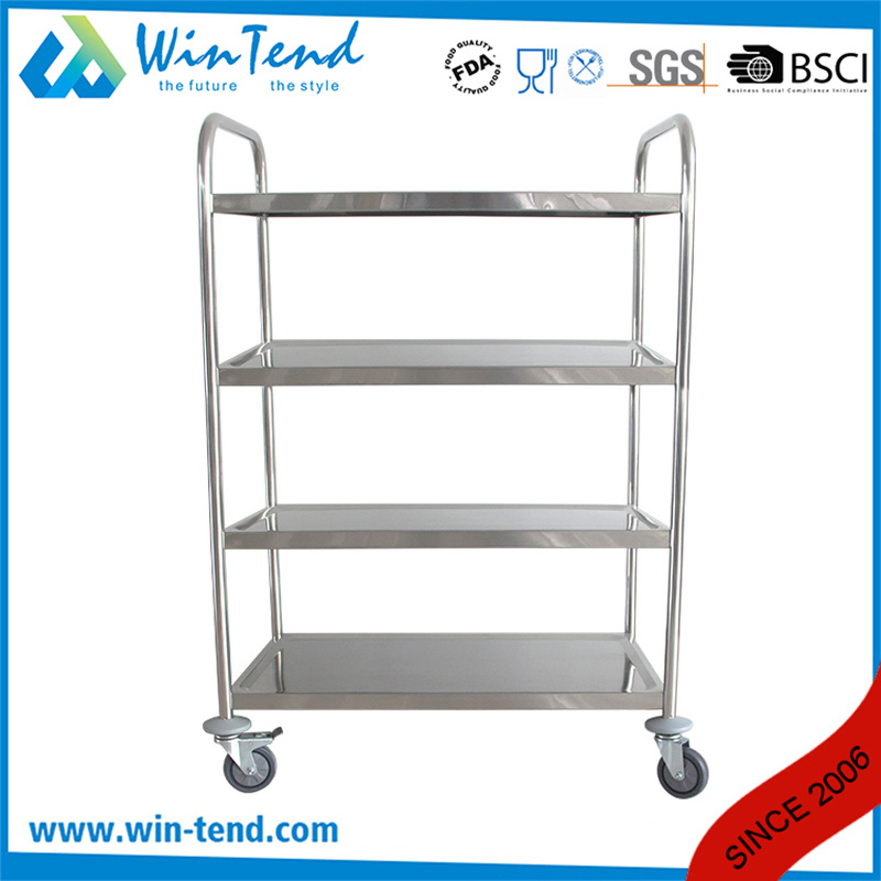 Round Tube 4 Tier Design Stainless Steel Types of Food Service Trolley with Good Prices for Home