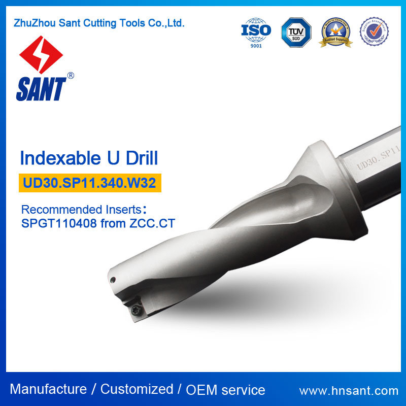 Indexable U Drill From Zhuzhou Sant Ud30. Sp11.340. W32 Drilling Tool with Carbide Insert Spgt110408 or Spmg110408