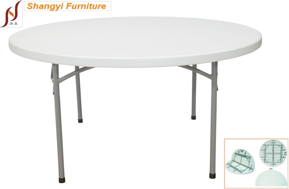2015 New Series 4 Foot Plastic Round Fold-in-Half Table (SY-122ZY)
