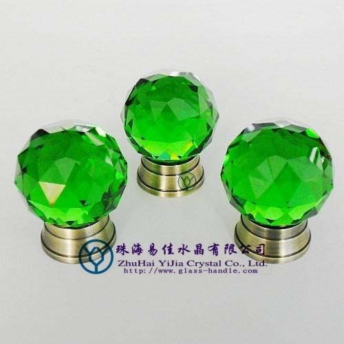 38mm Green Crystal Knobs for Cabinets (012-38L-TDQGLS)