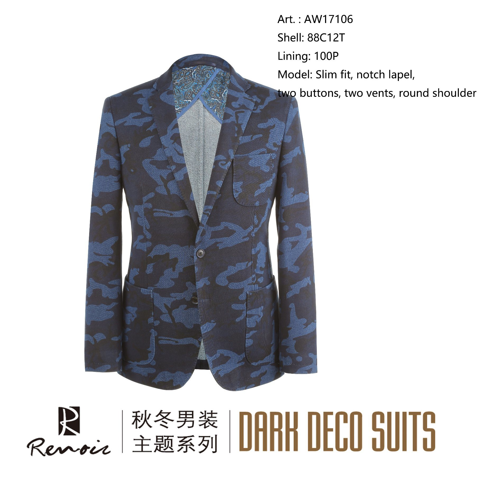 OEM Slim Fit Notch Lapel Round Shoulder Men′s Blazer