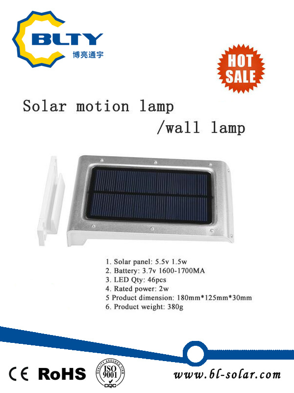 Solar Power Motion Sensor Garden Wall Lamp
