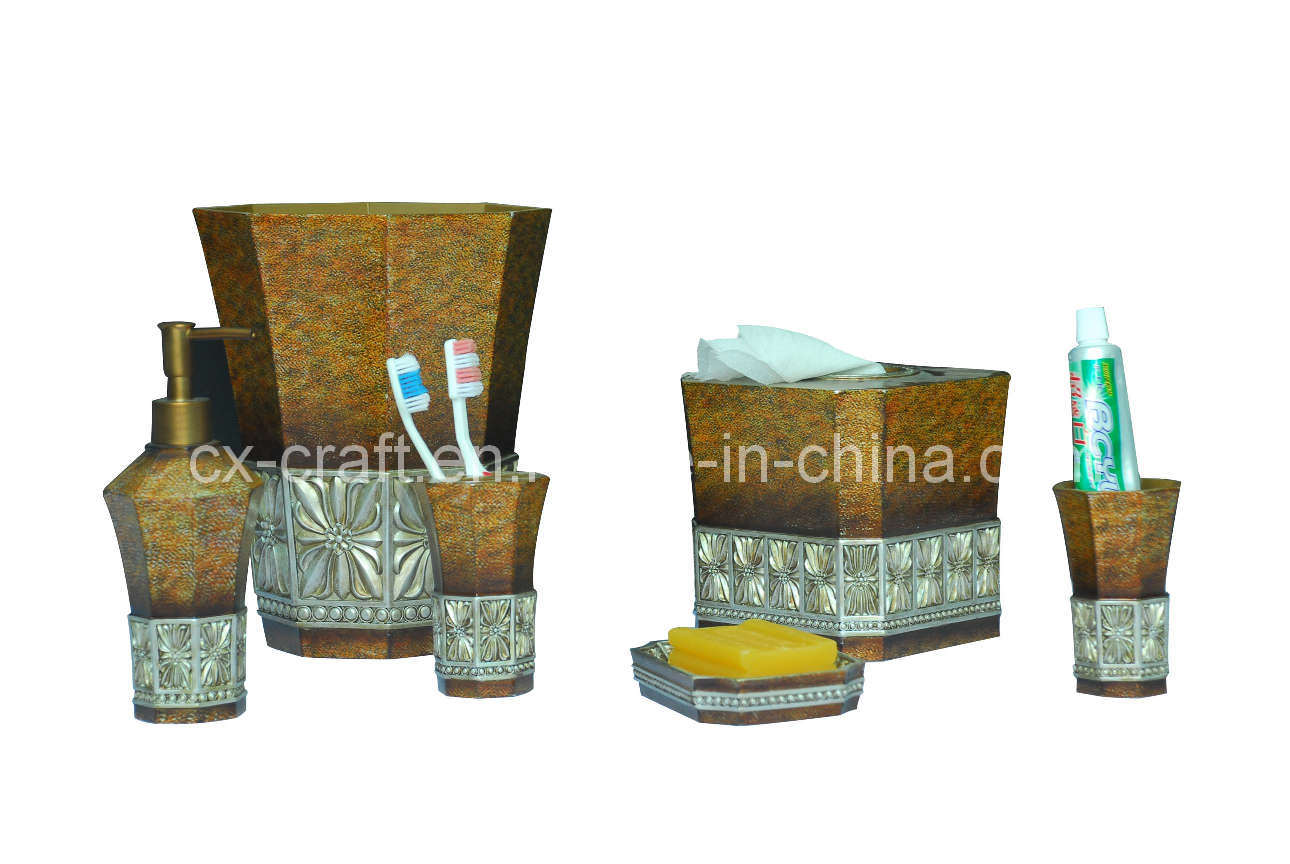China polyresin bath bathroom accessory set cx080089 for Bathroom accessory sets