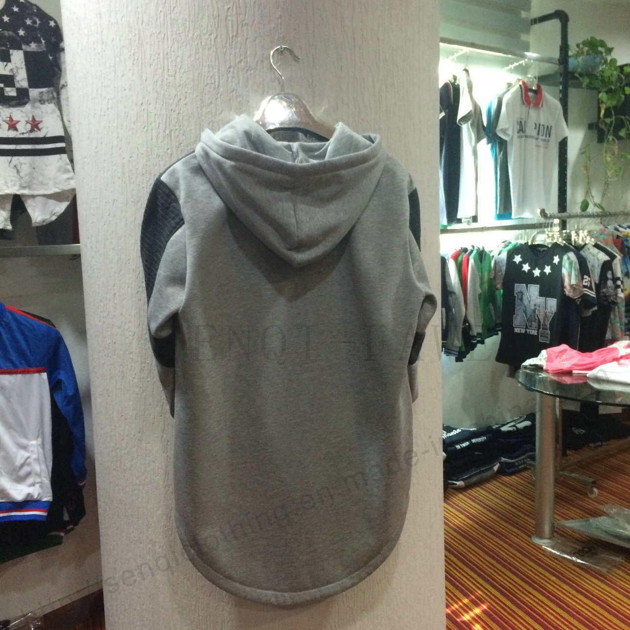 Men Leisure Fashion Fleece Longline Hoodies in Adult Clothes Fw-8662