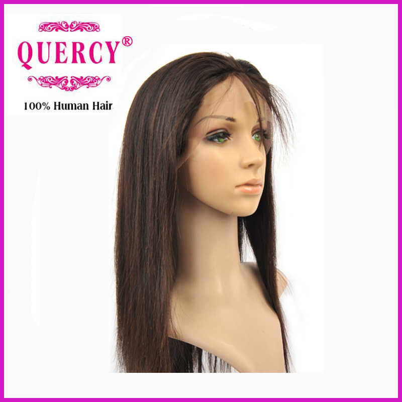 Quercy Hot Selling 100% Human Brazilian Virgin Remy Straight Hair Front Lace Wig Full Lace Wig (FW-042b)