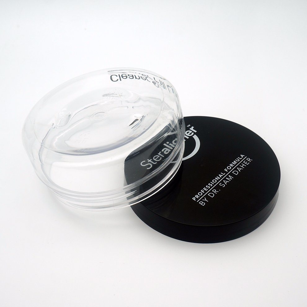 Empty Transparent Pet Cream Jar with Black Screw Cap