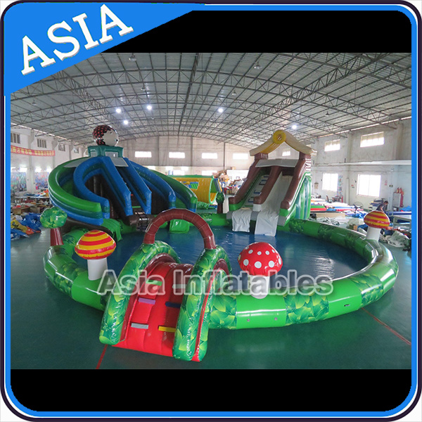Inflatable Hedgehog Shape Water Park, Inflatable Forest Theme Water Ground Park