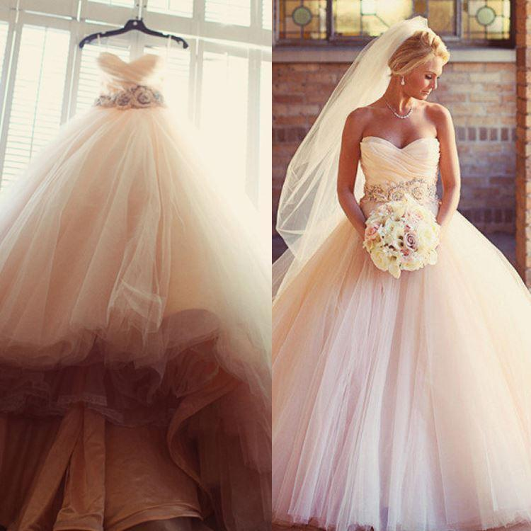 Blush Pink Bridal Ball Gown Strapless Wedding Dresses Ld32