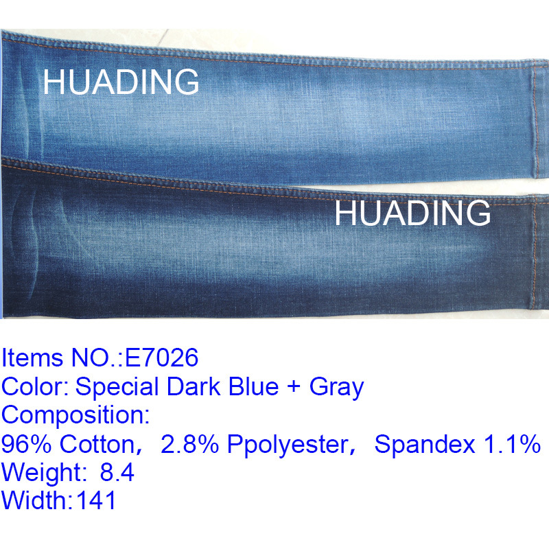 High Elasticity Special Dark Blue Denim Jeans Fabric (E7026)