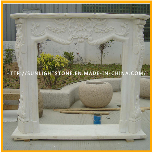 Black Marquina Marble Fire Place Stone Mantel Fireplace with Hand Carved