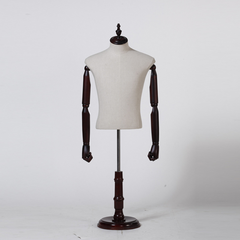 Half Body Male Mannequin with Wooden Arms