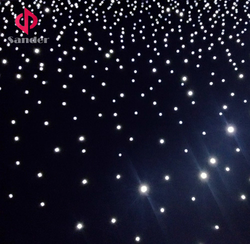 Whole White LED Starlit Curtain for Live Wedding Party Show Whit Twinkling Sky Star curtain