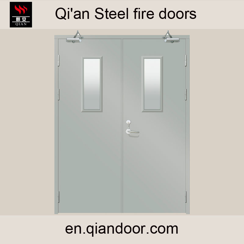 Double Leaf Steel Fire-Rated Door with Clear Glass