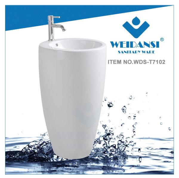 Weidansi Ceramic Wash Pedestal Basin Wash Sink (WDS-P7102)