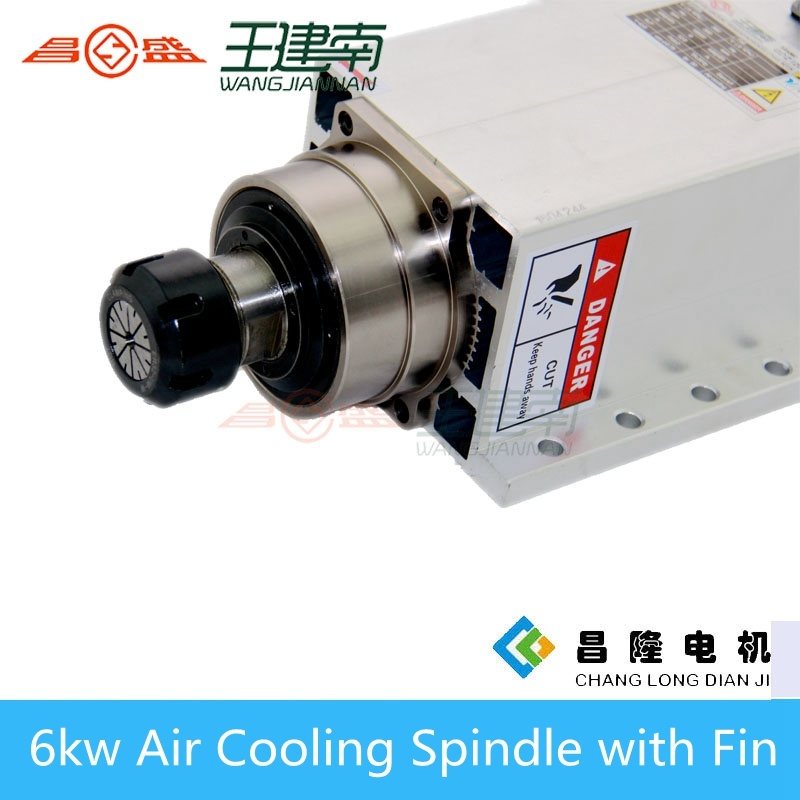 High Speed 6kw Er32 Square Air Cooling CNC Router Spindle with Fin