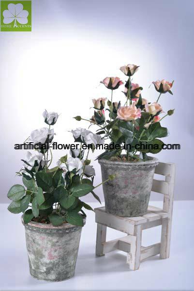 Artificial Mini Rose Boquet in Color Cement Pot for Decoration